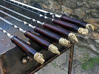 Набор шампуров с деревянной ручкой и бронзовыми навершиями 5шт. в чехле кожзам(3мм, 70см)