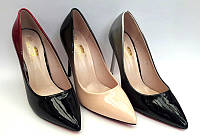 Женские туфли-лодочки Louboutin шпилька лаковая экокожа цвета разные KF0467
