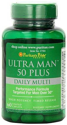 Витамины для мужчин 50+ Puritan's Pride Ultra Vita Man™ 50 Plus 60 Caplets, фото 2