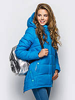 Молодежная зимняя куртка свободного кроя на силиконе 90246