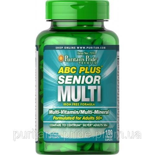 Витамины 50+  Puritan's Pride ABC Plus® Senior Multivitamin Multi-Mineral Formula 120 Caplets