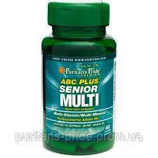 Вітаміни 50+ Puritan's Pride ABC Plus® Senior Multivitamin Multi-Mineral Formula 60 Caplets, фото 2