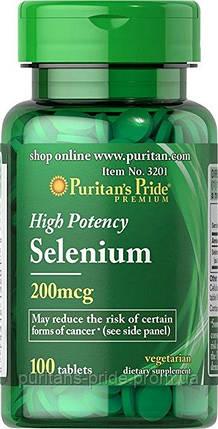 Селен минерал, антиоксидант Puritan's Pride Selenium 200 mcg 100 Tablets , фото 2