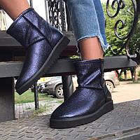 Угги женские AVK модные замшевые/кожаные черные/зеленые AV0036