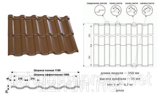 Металлочерепица  PRUSZYNSKI ARAD 0.5 Матовая