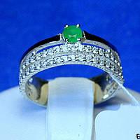 Срібне кільце з золотою накладкою (зелений фіаніт) кс 1308из з.нак