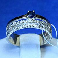 Серебряное кольцо с цирконом и вставкой золота кс 1308с з.нак