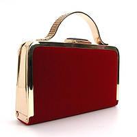 Клатч - бокс женский велюровый, сумочка через плечо красная Rose Heart 010