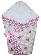 Осенний конверт одеяло для новорожденных на выписку весна/осень  90х90см Сердца зигзаг