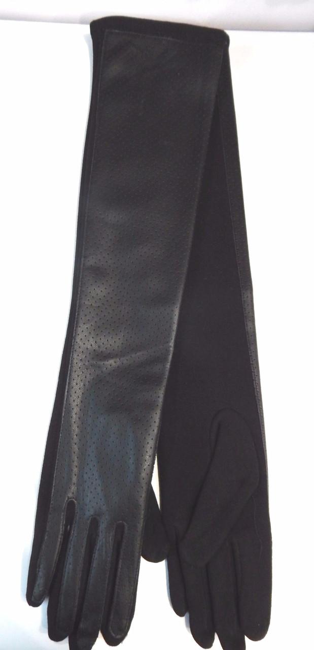 Длинные перчатки перфорация иск.кожа/трикотаж/флис 50см оптом