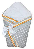 Осенний конверт одеяло для новорожденных на выписку весна/осень  90х90см Горох серый зигзаг