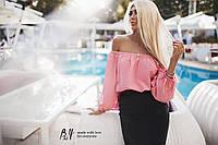 """Модная женская блузка с рукавами """"фонарик"""" принт / Украина / хлопок"""