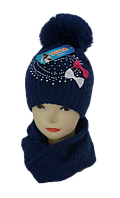 Шапка+шарф для девочки 3-12 лет