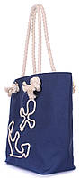 Стильная коттоновая сумка с якорем POOLPARTY anchor-darkblue-none Синий