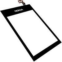 Тачскрин (сенсор) Nokia 300 Asha Нокиа, цвет черный