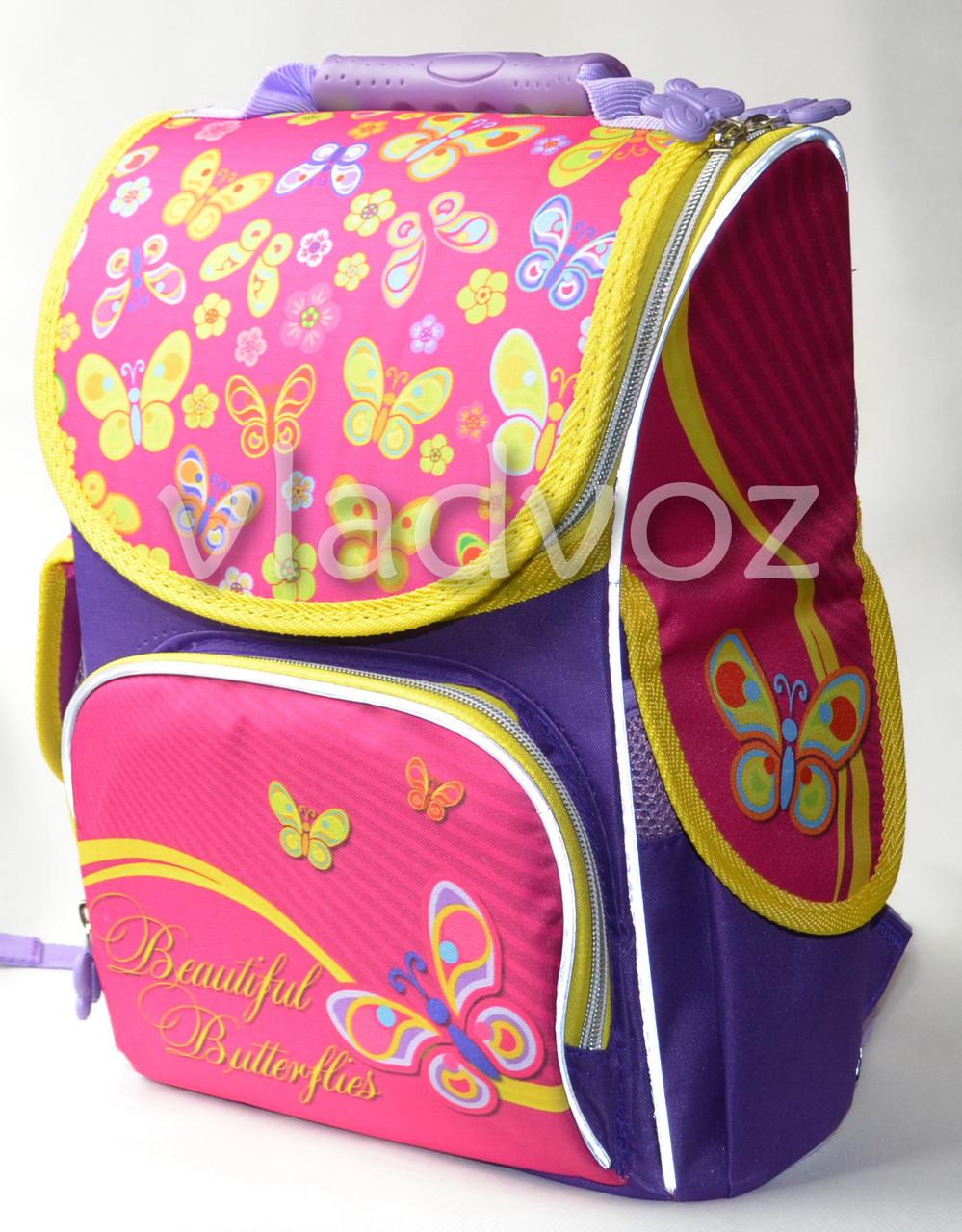 Школьный каркасный рюкзак для девочек бабочки Smile