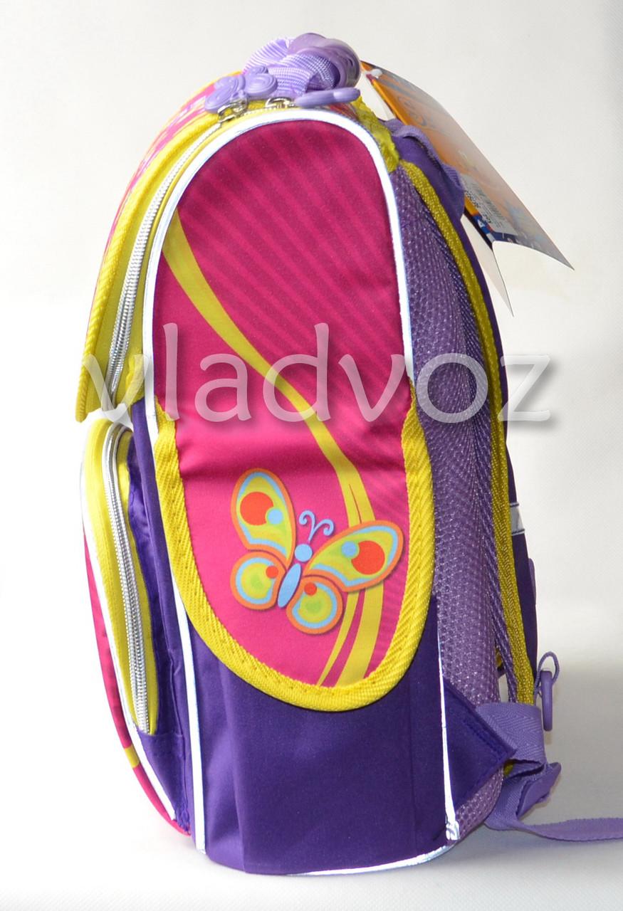 Школьный каркасный рюкзак для девочек розовый