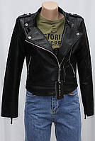 Куртка косуха молодежная короткая черная, р. S, M, L, XL