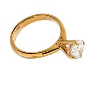 """Кольцо """"Катри"""" с фианитом, покрытое золотом (e189p0a0)"""