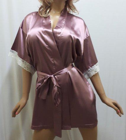 Нежный женский атласный халат с кружевом,короткий брендбери