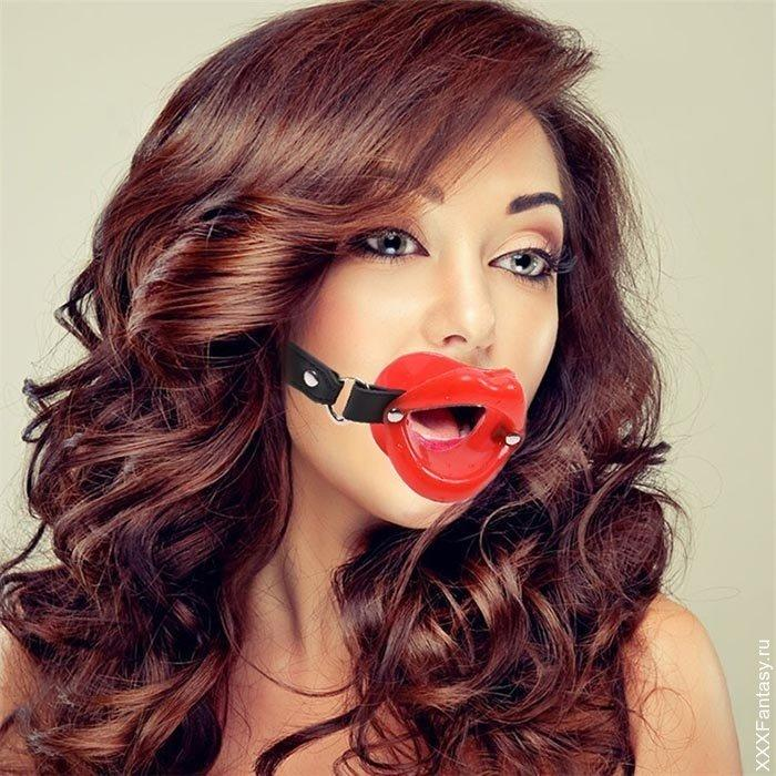 """Силиконовый кляп губы """"Открытий рот"""" на ремешке. БДСМ.Красные"""