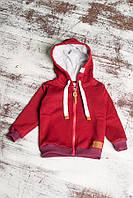 Детская теплая кофта на молнии бордового цвета
