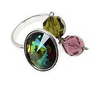 """Кольцо """"Альхена"""" с кристаллами Swarovski, покрытое родием (b022f030)"""