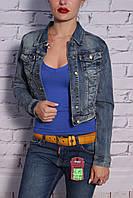 Модный женский джинсовый пиджак укороченный (код 109)