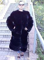 Шуба из меха песца чёрного цвета 115 см, фото 1