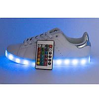 Женские кроссовки, детские кроссовки Светящиеся кроссовки с пультом Led низкие белые Stan Smith