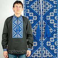 Вышиванка для мужчин с сине-белой вышивкой