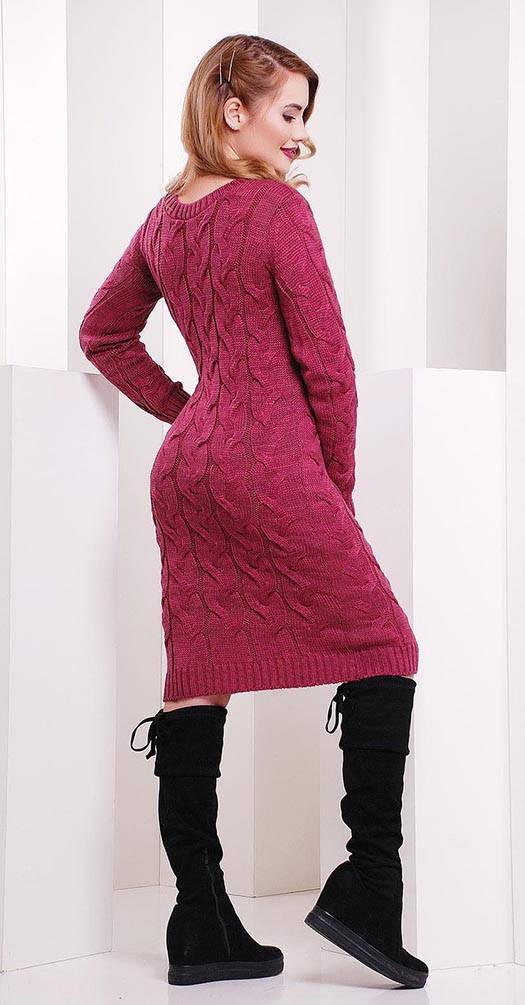 Платье короткое вязаное темно-розовое