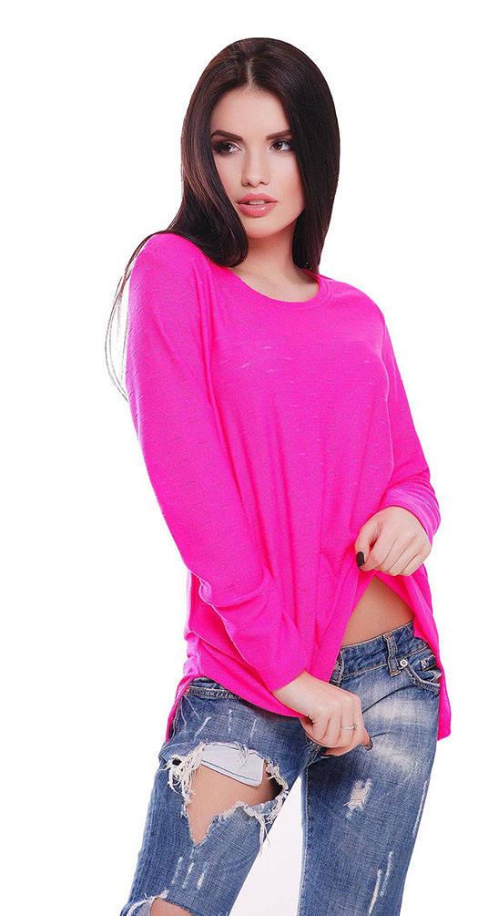 Свитер с приспуском розовый