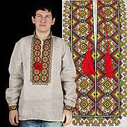 Льянная вышиванка мужская с вышивкой в 7 цветов