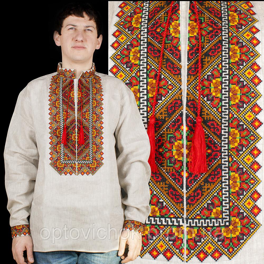 Ллянная мужская сорочка, цвета украинской земли