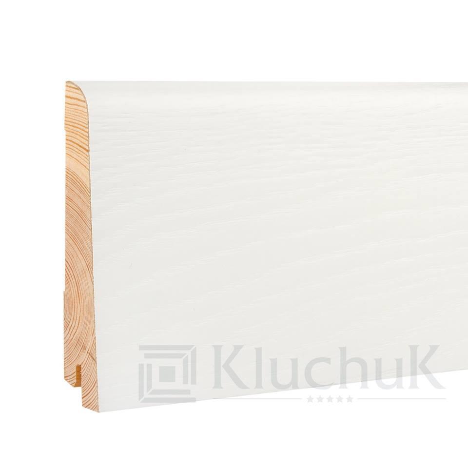 Плинтус деревянный белый KluchuK WHITE PLINTH профиль Евро 100*19*2200 мм.