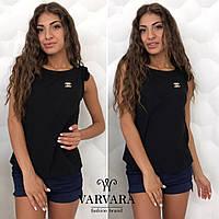 Женская лёгкая блузка с брошкой шанель в комплекте