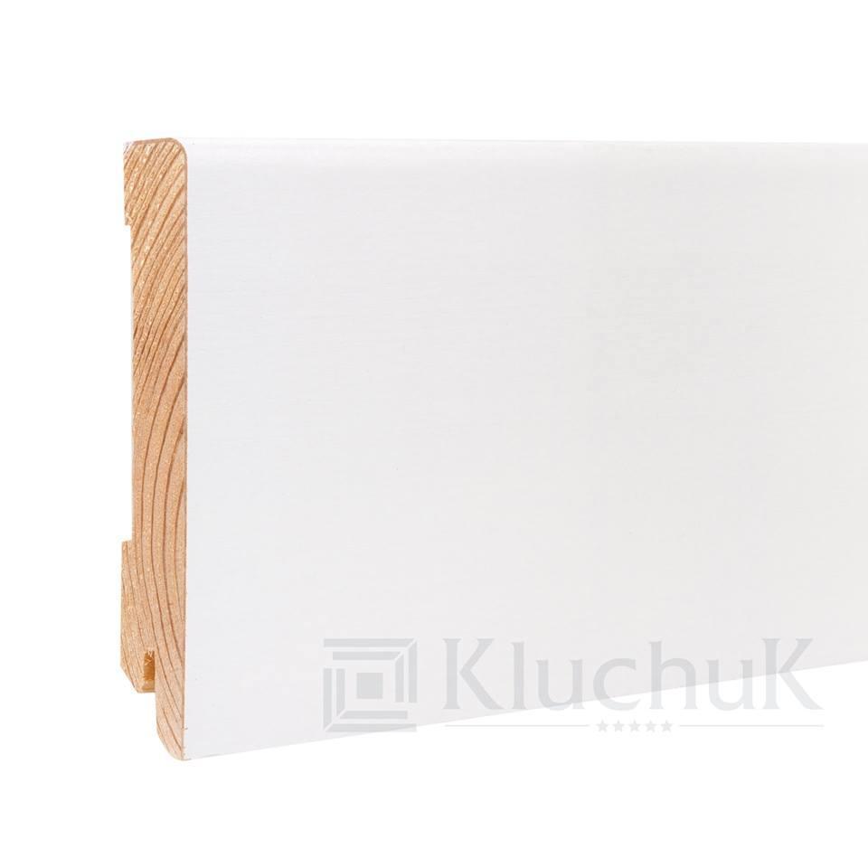 Плинтус деревянный белый KluchuK WHITE PLINTH профиль Модерн 120*19*2200 мм.