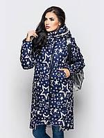 Модная длинная зимняя женская куртка со звездами на силиконе 90247