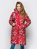 Модная длинная зимняя куртка со звездами на силиконе 90247