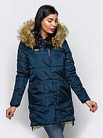 Зимняя женская куртка с мехом на силиконе 90248
