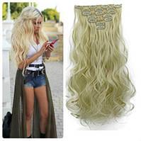 Волосы трессы на заколках ТЕРМО 7 прядей длина 55см  №613 блонд