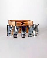 """Набор радужных пьяных рюмок для текилы """"Пьяное стекло"""" в деревянном ящике, Nishadecor, 6 шт."""