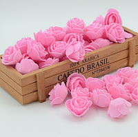 Роза из латекса, розовая  2,5-3 см