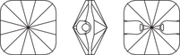 Пуговицы 3009 Rivoli Square Crystal Button