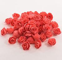 Роза из латекса,  2,5-3см,  коралловая