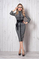 Деловой женский костюм с кожаной полоской и серая клетка