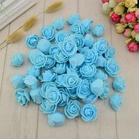 Роза из латекса, голубая  3-3,5 см