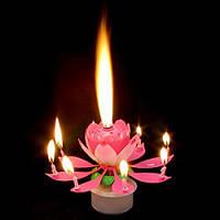 Музыкальная свеча лотос крутящаяся, фото 1