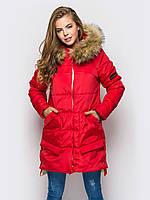 Зимняя женская куртка с мехом на силиконе 90248/1